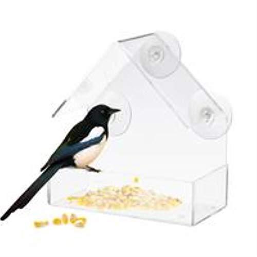 CHONGYA Nieuwe Vogelvoeders voor Buiten Transparante Acryl Weerbestendige Vogelvoederplafond Raam Adsorptie Huis Vorm Eekhoorn Bewijs Vogels Feeder B