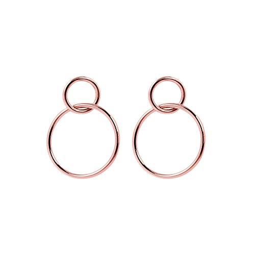 SINGULARU ® - Pendientes Sister Oro Rosa para Mujer Latón con baño de Oro Rosa de 18k - Joyas mujer