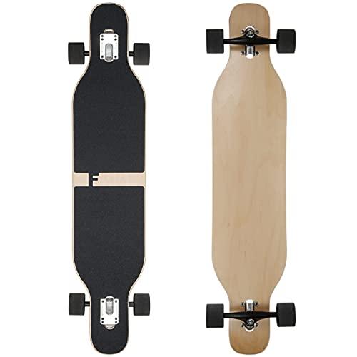 FunTomia Longboard Drop Through Cruiser - Tabla de skate completa con rodamientos Mach1 High Speed T-Tool con y sin ruedas led, 2503 - 0321, Flex 1 – 25 hasta 122 kg – Madera de arce – Color blanco
