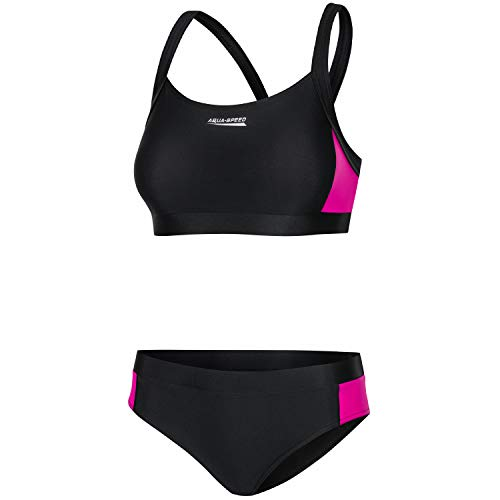 Aqua Speed Bikini Set für Frauen | Zweiteiler | Beachwear Swimsuit | Bathing Suit | Sport Bademode | Schwimmbikini | Bustier Bikinioberteil | Surfen | Sommer | Schwarz-Rosa, Gr. 42 | Naomi