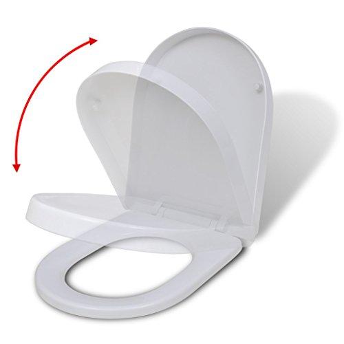 Festnight Wei?er WC-Sitz Toilettensitz mit Absenkautomatik Toilettendeckel Eckig für alle Standard Toilettenschüsseln