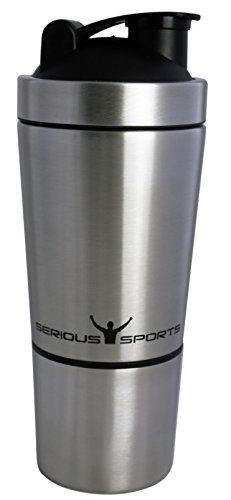 SERIOUS SPORTS Premium Protein-Shaker La proteína agitador| Hecho de acero inoxidable 18/8...