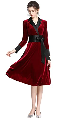 Women's Winter Long Sleeves Velvet Party V-Neck High Waist Casual Dress Elegant Soft Warm Bathrobe Nightgown