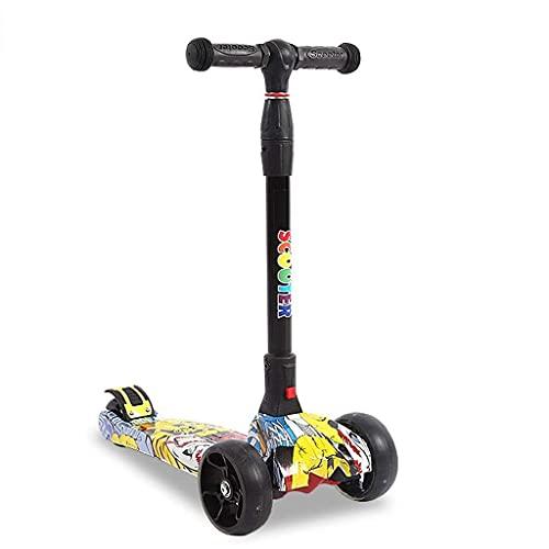 ZHZHUANG Portátil para Niños Scooter Freestyle Ultra-Lightweight 1 Seo Diseño Plegable Portátil Ajustable Altura Ajustable Regalo Cumpleaños No Eléctrico para Niños Scooter Clásico,Amarillo