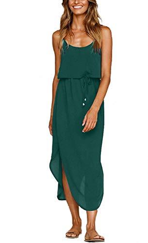 OURS Women's Sexy Open Back Adjustable Spaghetti Straps Sleeveless Split Beach Midi Evening Dress (Green, L)