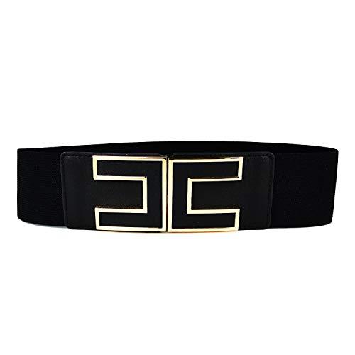 MYB Cintura elastica per donna - fibbia dorata a gancio - altezza 60mm - diversi colori disponibili (68 cm, Nero)