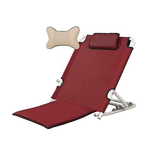 HYYYH Supporto per la Schiena del Letto Schienale per Letto per Anziani Sedia da Spiaggia Pieghevole per Esterni (Color : Red, Size : 67 * 57 * 43cm)