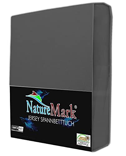 NatureMark Jersey Spannbettlaken, Spannbetttuch 100% Baumwolle in vielen Größen und Farben MARKENQUALITÄT ÖKOTEX Standard 100 | 180 x 200 cm - 200 x 200 cm - anthrazit grau