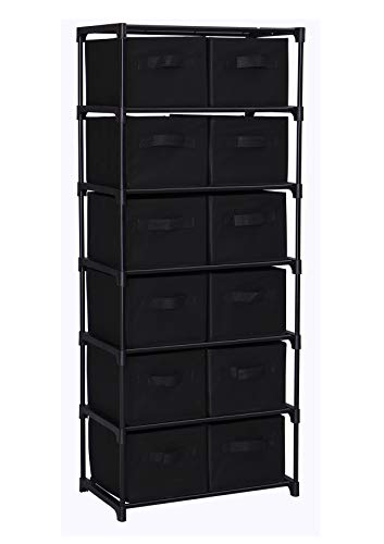 Homebi 12 Drawers Storage Shelf Chest Unit Storage Cabinet Closet Organizer Rack with 6 Durable Metal Wire Shelves and 12 Removable Non-woven Fabric Bins,20.67