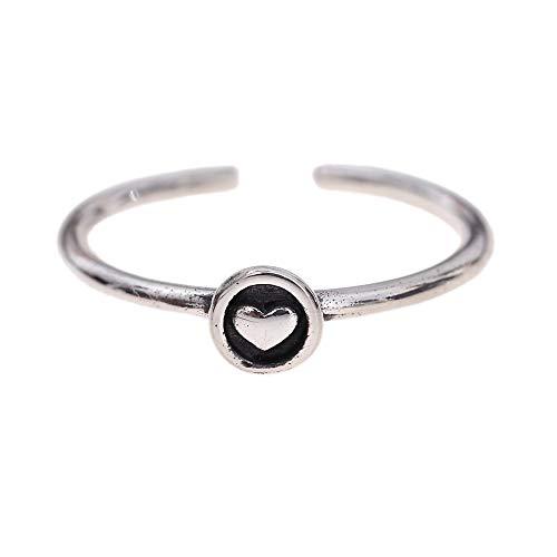 Damen Ring 925 Silber - Damenring Silberring Frauen Mädchen Schmuck-Ring - Größen-Verstellbar in Gr. 51-60 - Geburtstags-geschenk Geburtstag Weihnachten Valentinstag (Herz)