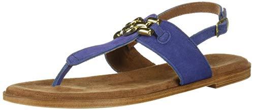 Bella Vita Women's Lin-Italy Thong Sandal Shoe, Blue Italian Suede Leather, 6.5 W US