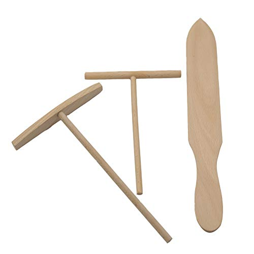 Rose-only Wooden Crepe Spreader and Spatula Set -3 Piece (1Pc Curved Spreader, 1Pc Round Spreader and 1Pc Pointed Spatula) Convenient Sizes to Fit Any Crepe Pan Maker,Crepe Maker