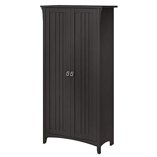 Bush Furniture Salinas Tall Storage Cabinet with Doors in Vintage Black
