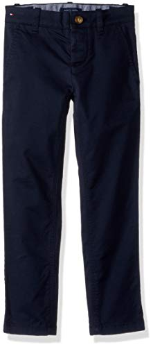 Tommy Hilfiger Boys' Adaptive Chino Pants Stretch Adjustable Waist Velcro Magnet Buttons, Navy blazer 12