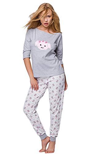 S& SENSIS edler Baumwoll-Pyjama (Made in EU) Hausanzug aus schickem Oberteil und toller Hose, Gr. 36, Hellgrau/Weiß mit Schweinchen