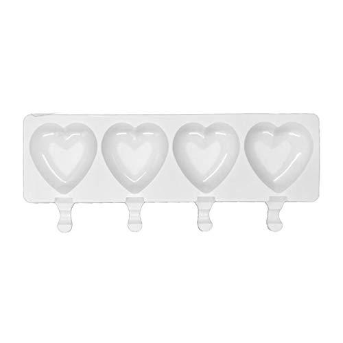 CandyTT Molde de Helado de 4 cavidades moldes de Silicona de Fruta de Paleta DIY en Forma de corazón Hecho en casa