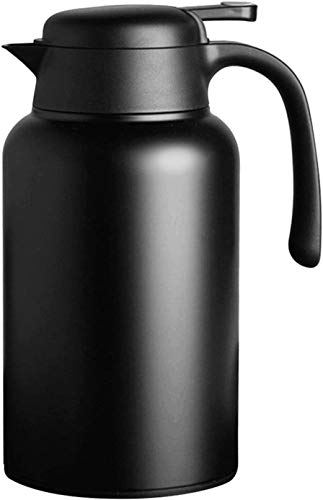 Luvan 68 oz Thermal Carafe 304 18/10 Stainless Steel /Double Walled Vacuum Insulated Coffee Pot with Press Button Top,24+ Hrs Heat&Cold Retention,BPA Free,for Coffee,Tea,Beverage (Black)