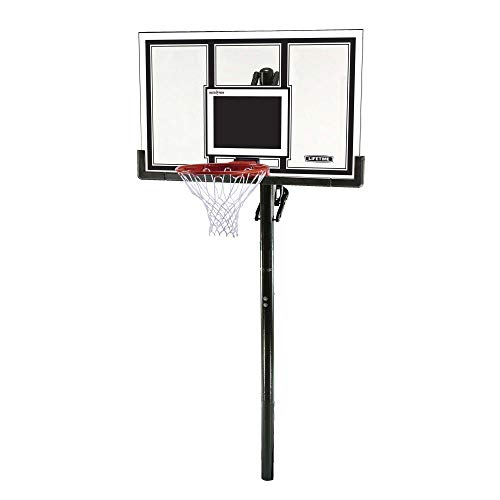 Lifetime 71525 Height Adjustable In Ground Basketball System, 54 Inch Shatterproof Backboard