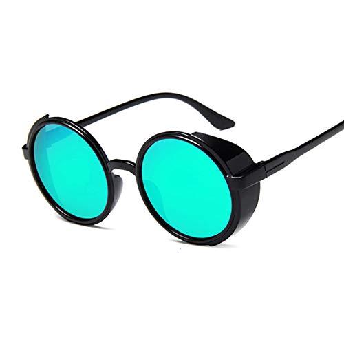 SHANGYUN Gafas De Sol Redondas Mujer Gafas De Sol VintageMujer Plástico Espejo Retro Negro Verde