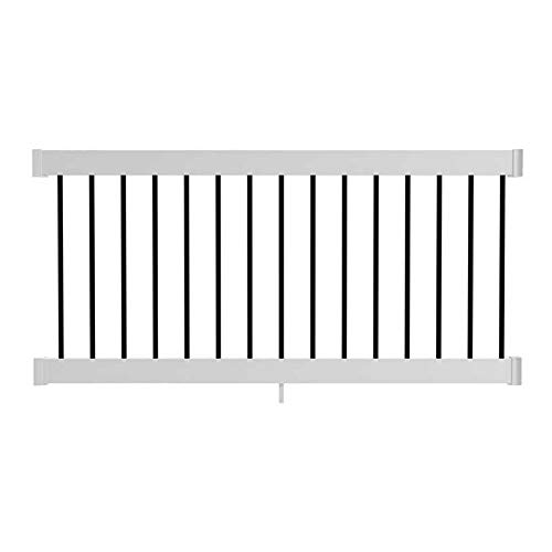 6-ft x 3-ft White Composite Line Railing Kit with Black Balusters
