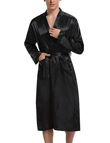 Hawiton Herren Morgenmantel Lang Satin Bademantel Kimono Robe Nachtwäsche V Ausschnitt mit Gürtel Schwarz XL