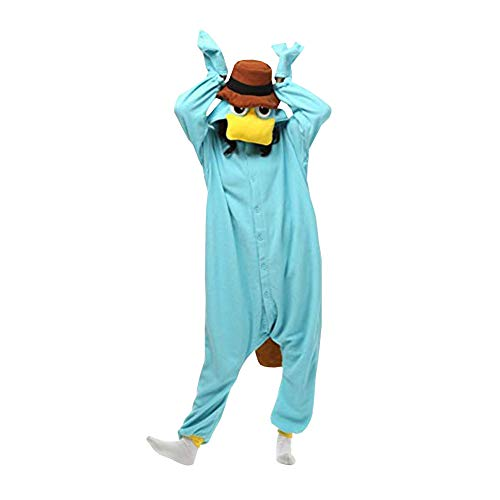 LPATTERN Pijama Animal Entero con Capucha Unisex para Adultos Ropa de Dormir Traje de Disfraz para Festival de Carnaval Halloween Cosplay, Ornitorrinco Azul, M/Altura Recomendada:158-168cm
