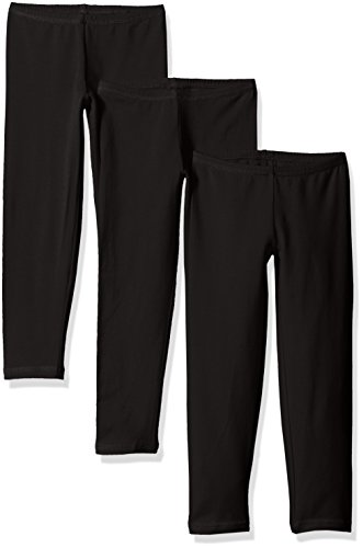 Hanes Little Girls' Leggings (Pack of 3), Ebony, Small
