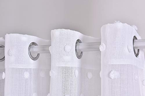 Tramas Cortina Translúcida con 8 ollaos, 140x260cm, para Salón, Habitación y Dormitorio. Modelo Pompom (Blanco)