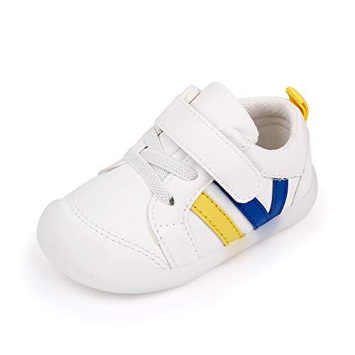 MASOCIO Zapatillas Bebe Niño Niña Zapatos Primeros Pasos Bebé Deportivas Antideslizante Talla 22.5 Blanco Azul