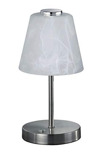 Reality Leuchten Emmy R52541907 LED Tischleuchte, Metall, 2.5 Watt, Nickel Matt, Glas alabasterfarbig weiß, 4x fach Touch