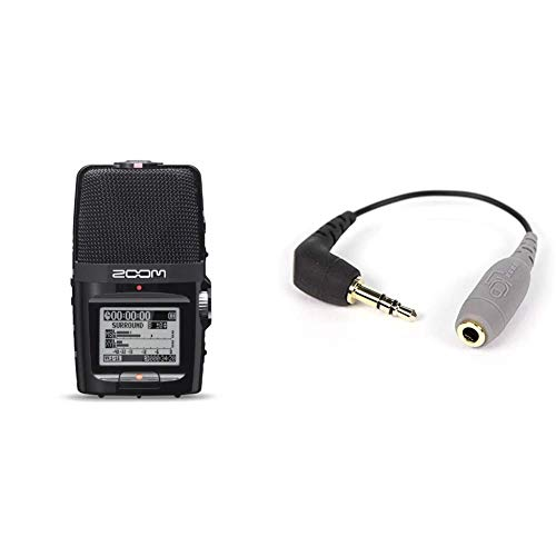 ZoomH2n/IFSgrabador 4 pistasinterfaz USB + Rode Microphones SC3Adaptador de TRRS a TRS, Color Negro