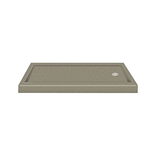 "Transolid PAN3260R-A3 60"" x 32"" Decor Solid Surface Right-Hand Shower Base in Peppered Sage"