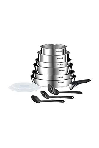 Tefal Ingenio Emotion - Batería de cocina (12 piezas, inducción, sartenes, 22/26/28 cm, cacerolas 16/20 cm (1,5 L/3 L), sartén 24 cm + 2 tapas herméticas + 1 asa + 3 espátulas L948SC04