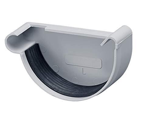 INEFA Rinnenendstück, halbrund Grau NW 100, links - Kunststoff, Regenrinne - Stück für Rinne, Dachrinnen, Kunststoffrinne für Gartenhaus, Gewächshaus - Endstück, Zubehör