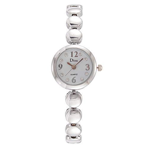 Powzz ornament Señoras reloj de moda círculo digital pulsera niña reloj-placa blanca correa de plata