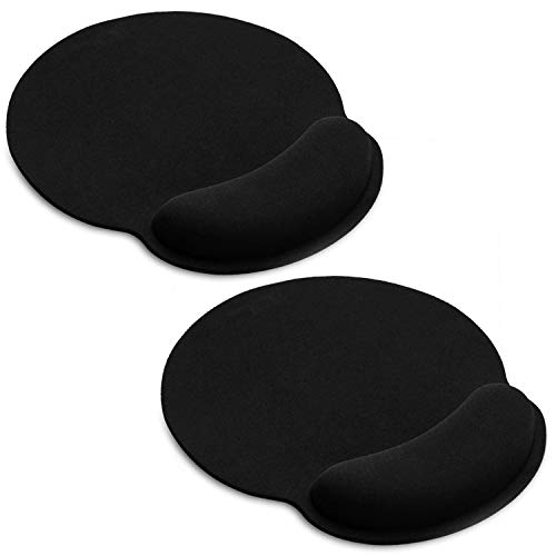 2 Pack Ergonomic Mouse Pad with Wrist Rest Support Gel for Computer, Black Gaming Mouse Pad Large with Gel Wrist Support for Laptop, Memory Foam Mousepad Can Relieve Hand Discomfort (2 Pack)