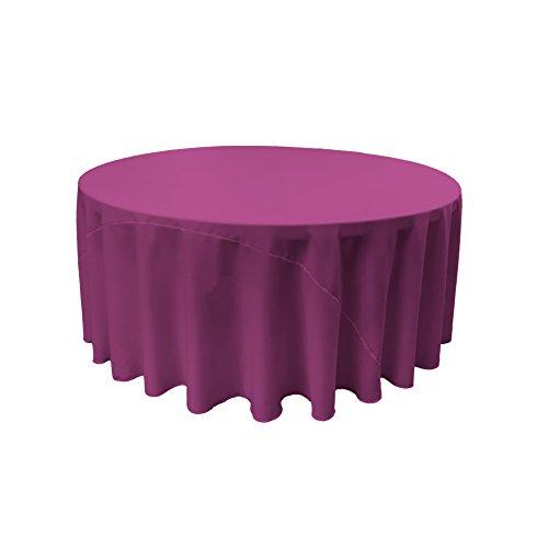 LA Linen Polyester Poplin Round Tablecloth, 120-Inch, Magenta