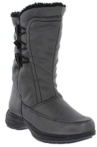sporto Women's Madison Waterproof Fashion Snow Boots, Pewter, 9 M US