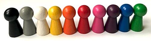 Spieltz 52320: Halmakegel groß, aus Holz, 19/40 mm, 10 Pöppel, farblich gemischt. Extra große Spielfiguren z.B. für Senioren, kleine Kinder, Menschen mit motorischen Einschränkungen.