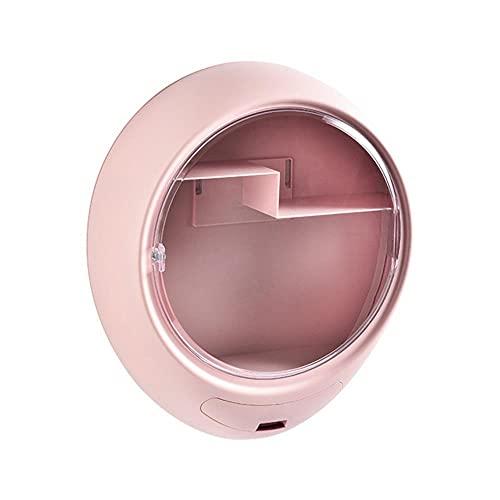Caja organizadora de maquillaje montada en la pared sin agujeros Cosméticos Joyas Esmalte de uñas Estante de almacenamiento de medicinas Estuche para vestuario de baño-Rosa, 35L