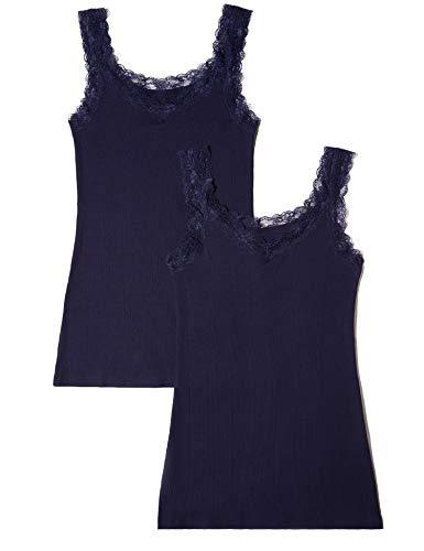 Amazon-Marke: Iris & Lilly Damen Unterhemd aus Baumwolle mit Spitze, 2er-Pack, Blau (Navy), L, Label: L