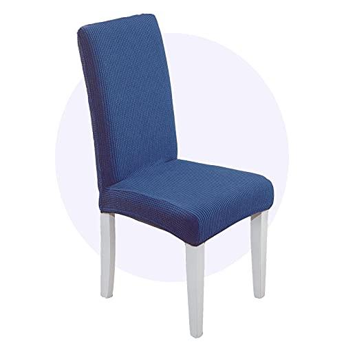 Carvapet 4 Piezas Funda Sillas Comedor Elasticas Tejido Protector de Silla para Comedor Hotel Partido (Azul Marino)