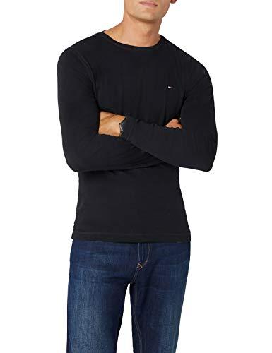 Tommy Hilfiger Original 1x1 Rib CN Knit l/s T-Shirt, Noir (Tommy Black 078), M Homme