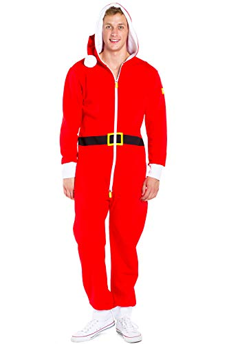 Santa Claus Cozy Onesie - Adult Santa Jumpsuit Costume Cozy Pajamas (Small) Red