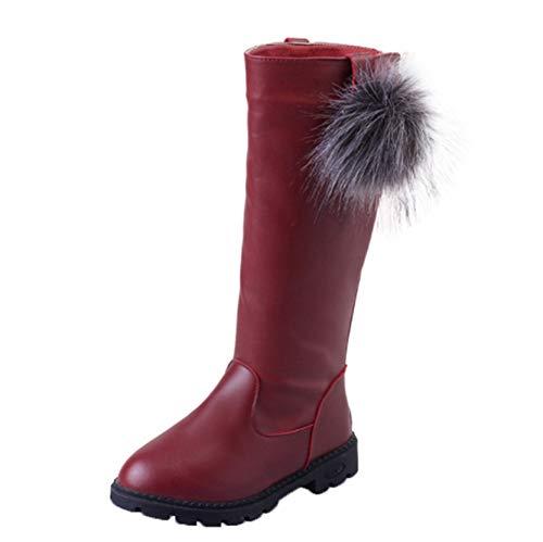 Botas hasta la Rodilla para niñas, Invierno, Impermeables, Informales, cálidos, Antideslizantes, para la Nieve, Zapatos para niños, Botas largas con Cremallera de Cuero Plano y tacón bajo