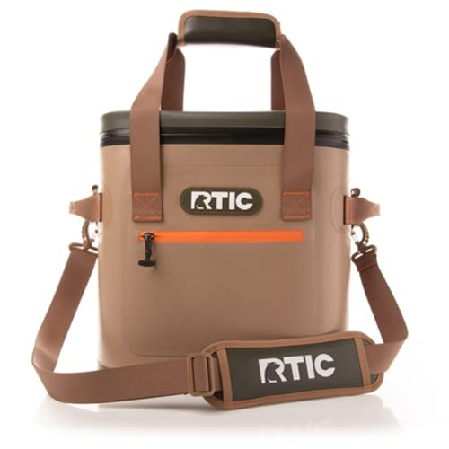 RTIC Soft Cooler 30, Tan, Insulated Bag, Leak Proof Zipper, Keeps Ice Cold for Days
