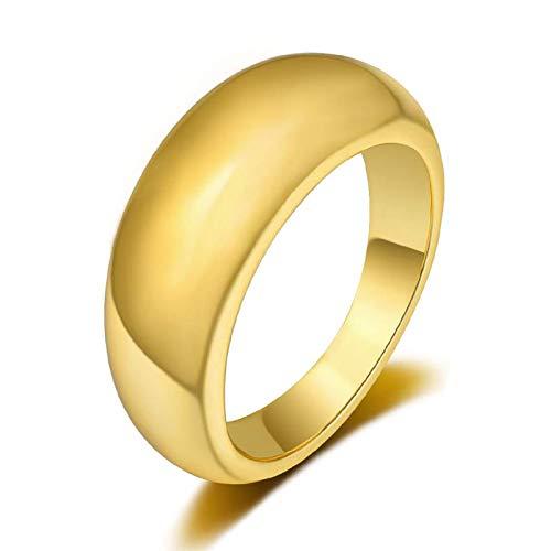 VELESAY 1-2PCS 18K Oro Anillos para Mujeres Niñas Dorados Anillo Compromiso Mujer Anillos Gruesos de Domo