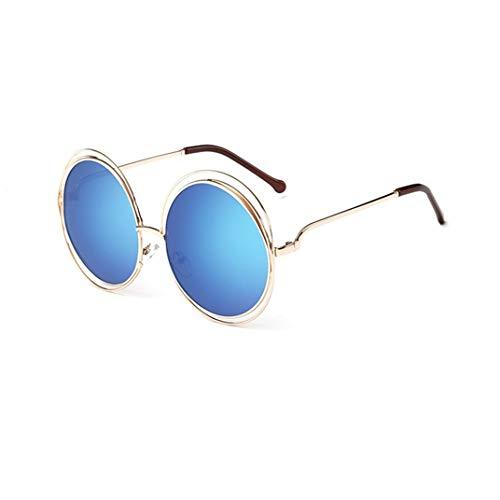 GAOTIAN Gafas de Sol Vintage Redondo Grande tamaño Lente de Gran tamaño Espejo Gafas de Sol Mujeres Marco de Metal señora Gafas de Sol señora Fresco Retro
