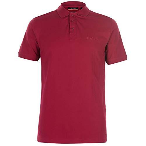 Pierre Cardin Camisa Polo Clásica de Manga Corta para Hombre in Algodón Premium (Medium, Berry)