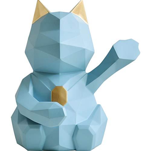LYLY Hucha Animal Hucha nórdica geometría Dinero Banco Afortunado Gato Adulto Gran Moneda Banco decoración Creativa Lindo niños Moneda alcancía Caja de Ahorro de Dinero (Color : Blue, tamaño : Small)